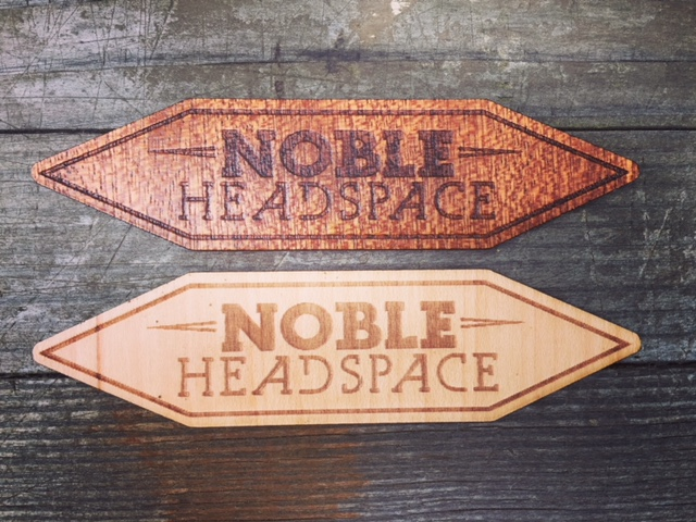 WoodLab Designs Noble Headspace custom wooden stickers in Sapele & Maple veneer