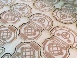 WoodLab Designs Wooden Stickers Real Wood Stickers Promotional Materials Custom Maple Veneer Wood Diving Helmets