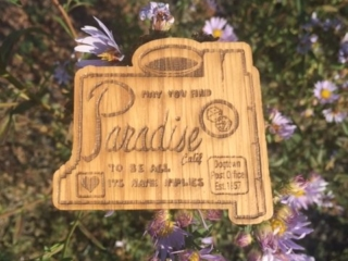 WoodLab Designs Town of Paradise, CA wood sticker sign replica Butte County Camp Fire Relief Fund