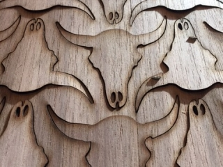 Beech Cow Skull Wood Sticker Sheet
