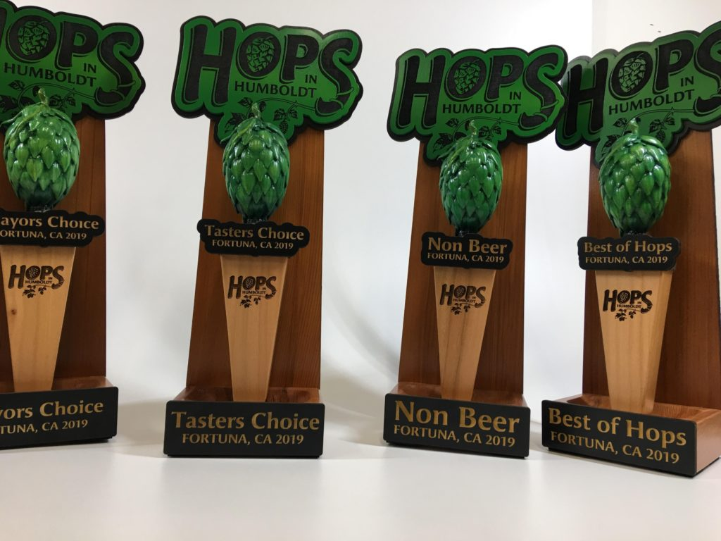 WoodLab Designs Hops in Humboldt Trophy Awards with Removable Tap Handle 3D Print Hand Painted