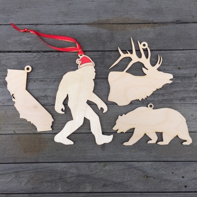 WoodLab Designs Laser Cut Baltic Birch Wood Holiday Ornaments for Outdoor Enthusiasts