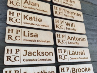 WoodLab Designs Humboldt Patient Resource Center Cannabis Dispensary Baltic Birch Plywood Magnetic Name Tags