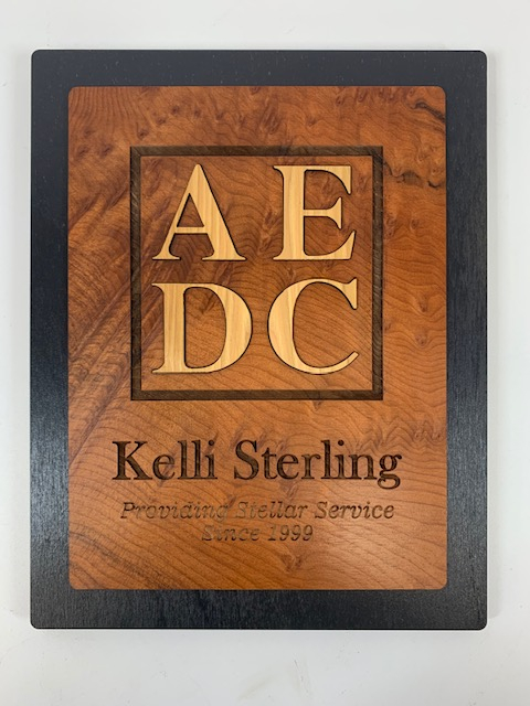 WoodLab Designs Laser Cut and Etched Layered Award stained Baltic Birch Plywood, Redwood Burl, Hickory MDF