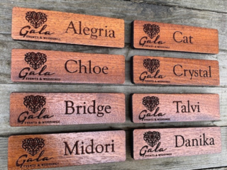 WoodLab Designs Custom Sapele Wood Magnetic Name Tags for Gala Events & Weddings