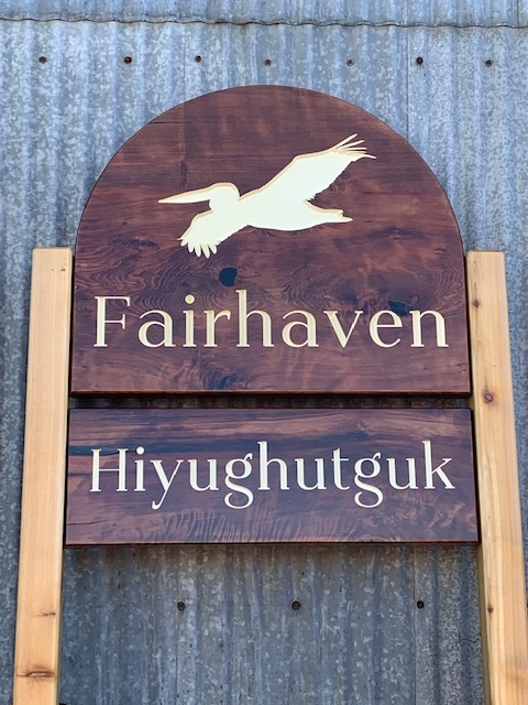 WoodLab Designs CNC carved Redwood with Cedar Posts exterior sign for the community of Fairhaven