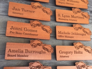 WoodLab Designs Custom magnetic Redwood Name Tags