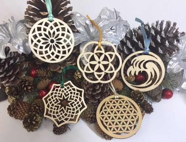 WoodLab Designs Laser Cut Baltic Birch Sacred Geometry Wood Ornaments