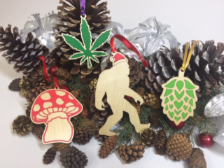 WoodLab Designs Bigfoot Santa Ornament, Hop Ornament, Mushroom Ornament, Marijuana Leaf Ornament