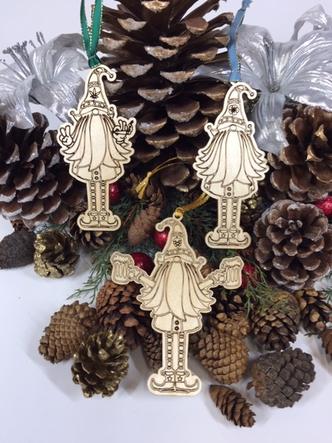 WoodLab Designs Assorted Baltic Birch Elf Themed Wood Ornaments with Satin Ribbon
