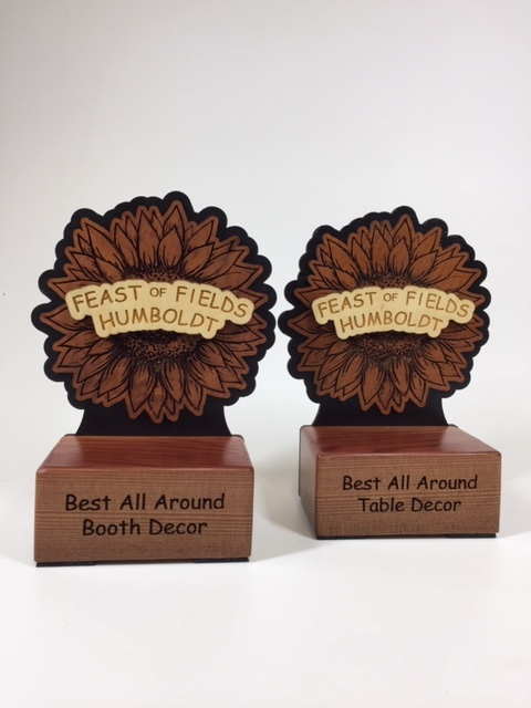 WoodLab Designs Feast of Fields Humboldt Redwood Layered Laser Etched Awards