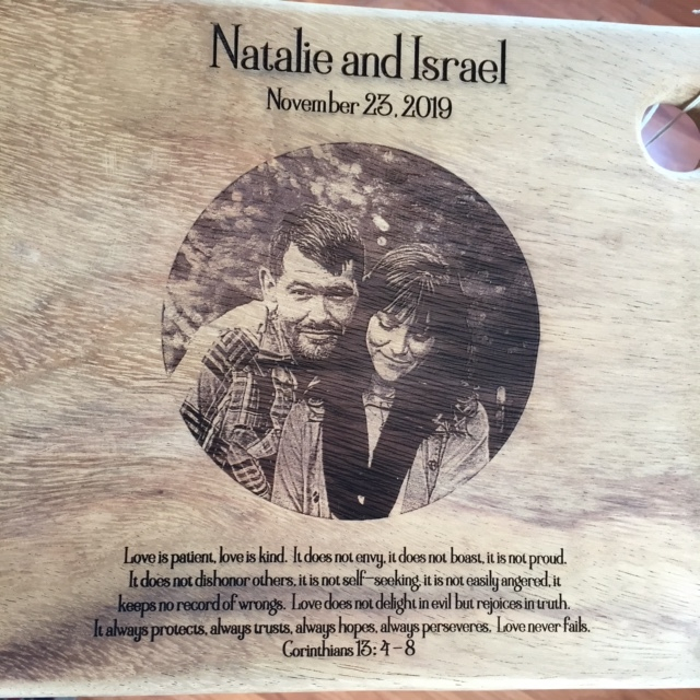 WoodLab Designs Photo Etched Wedding Gift Wood Laser Etched Charcuterie Board