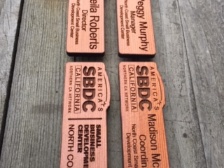 WoodLab Designs Custom magnetic Redwood Name Tags for the North Coast SBDC
