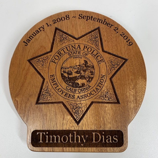 WoodLab Designs Fortuna Police Department Employee Retirement Recognition Plaque